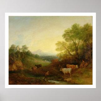 Uma paisagem com gado e figuras por um córrego poster