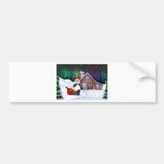 Uma panda do papai noel com um cheio do saco do adesivo para carro
