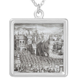 Uma perspectiva da cidade e do porto colar banhado a prata