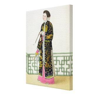 Uma senhora da distinção em seu hábito da cerimóni impressão em tela