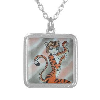 Uma senhora selvagem Tigre Original Colar Com Pendente Quadrado