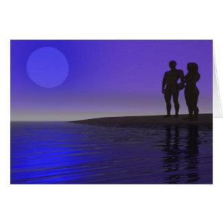 Uma silhueta romântica cartão comemorativo