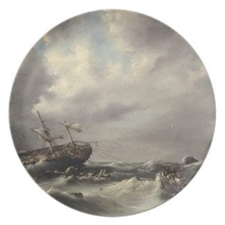 Uma tempestade no mar (óleo no painel) louças de jantar