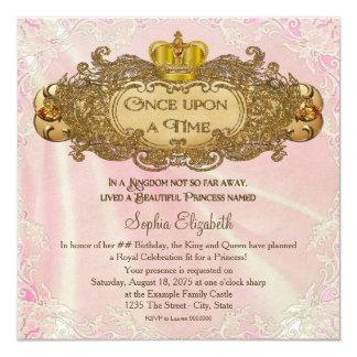 Uma vez princesa festa de aniversário convite quadrado 13.35 x 13.35cm
