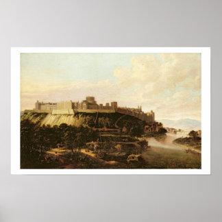 Uma vista do castelo de Windsor com figuras e emba Impressão