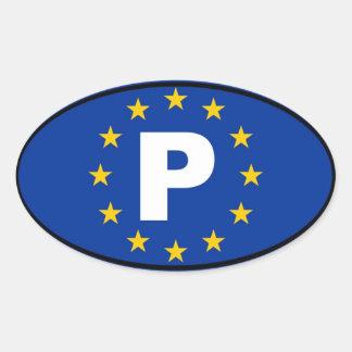 União Europeia de Portugal P Adesivo Oval