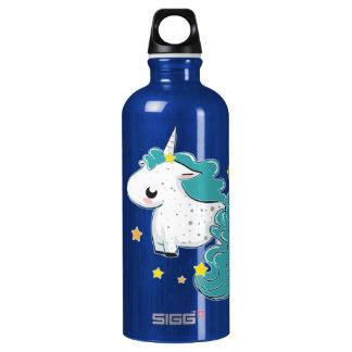 Unicórnio azul dos desenhos animados com estrelas