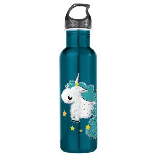 Unicórnio azul dos desenhos animados com estrelas garrafa de aço inoxidável