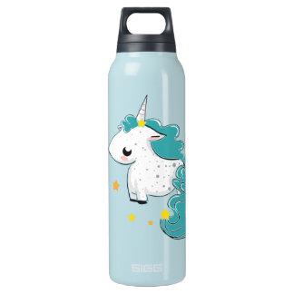 Unicórnio azul dos desenhos animados com estrelas garrafa de água térmica