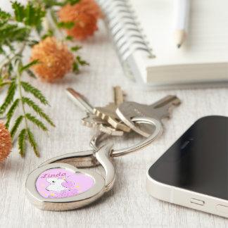 Unicórnio cor-de-rosa bonito dos desenhos animados chaveiro coração torcido cor prata