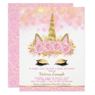 Unicórnio cor-de-rosa do ouro dos convites do chá