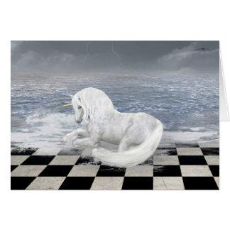 Unicórnio no cartão surreal do Seascape