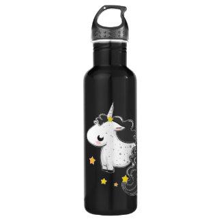 Unicórnio preto dos desenhos animados com estrelas garrafa