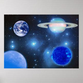 Universo azul pôsteres