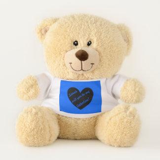 Ursinho De Pelúcia Corações pretos da polca no azul