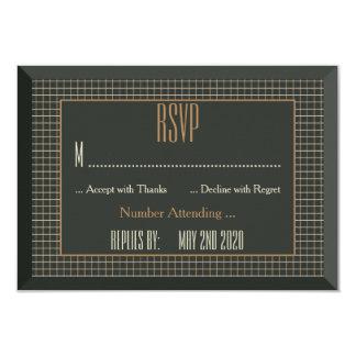Urso alegre quadro elegante que Wedding RSVP Convite 8.89 X 12.7cm