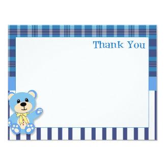 Urso azul com cartões de agradecimentos da xadrez convite 10.79 x 13.97cm
