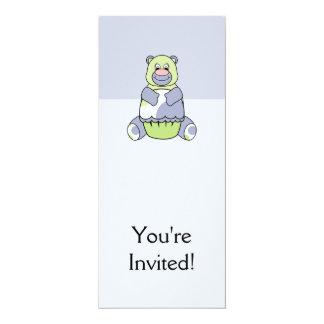 Urso azul e verde de Polkadot Convite 10.16 X 23.49cm