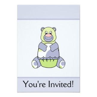 Urso azul e verde de Polkadot Convite 12.7 X 17.78cm