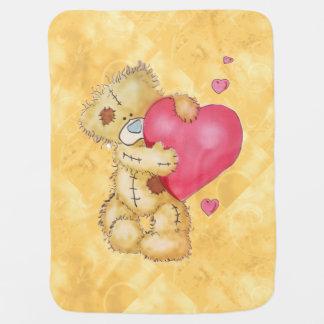 Urso bonito com corações cobertorzinho para bebe