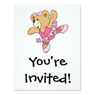 Urso bonito da bailarina convite 10.79 x 13.97cm