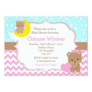 Urso bonito do bebé com chá de fraldas da estrela convite 12.7 x 17.78cm