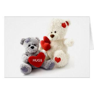 Urso cinzento & branco com cartão do coração