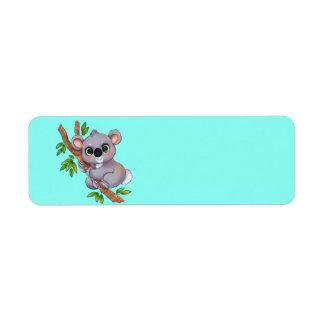 Urso de Koala animado Etiqueta Endereço De Retorno