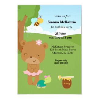 Urso de mel bonito convite 12.7 x 17.78cm
