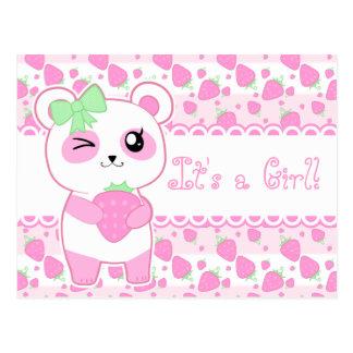 Urso de panda bonito de Kawaii do rosa do Cartão Postal