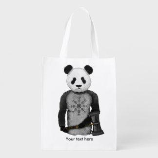 Urso de panda com martelo de Viking Sacola Ecológica