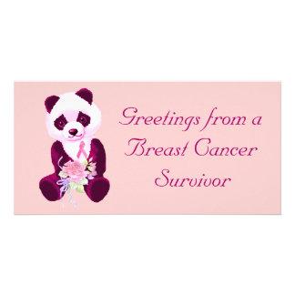 Urso de panda do cancro da mama cartão com foto