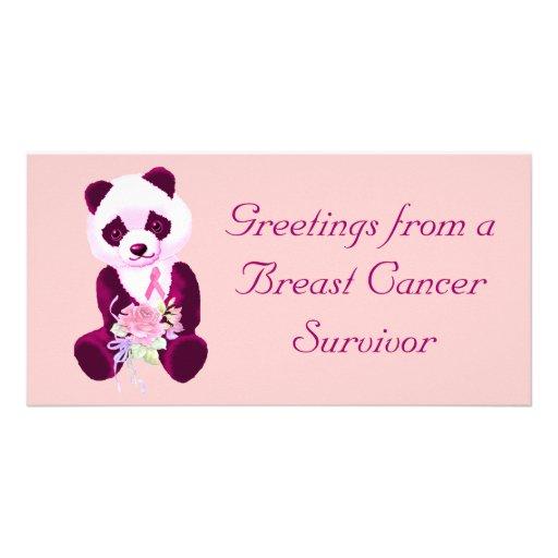 Urso de panda do cancro da mama cartao com foto