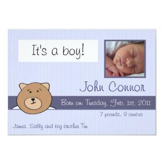 Urso de ursinho azul - é um anúncio do menino convite 12.7 x 17.78cm