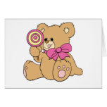 Urso de ursinho bonito do bebê com pirulito cartao