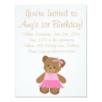 Urso de ursinho do aniversário com tutu convite 10.79 x 13.97cm
