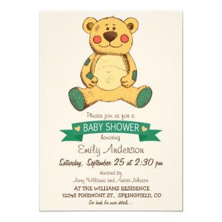 Urso de ursinho do brinquedo do vintage, chá de convite 12.7 x 17.78cm