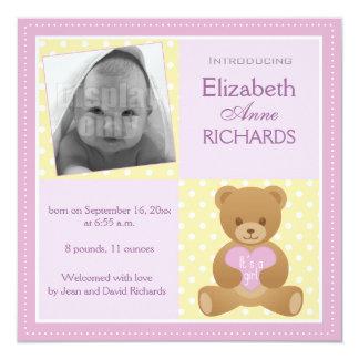 """Urso de ursinho """"ele """" s cartão anúncio de uma convite quadrado 13.35 x 13.35cm"""
