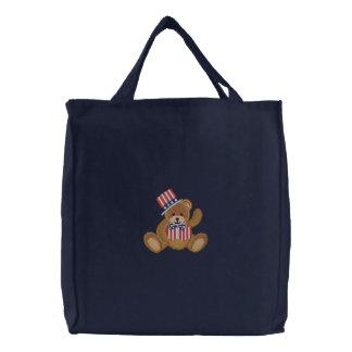 Urso de ursinho patriótico dos EUA Bolsas Para Compras