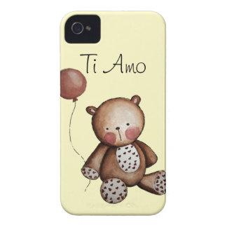 Urso do bebê com a caixa de Blackberry do balão iPhone 4 Capa