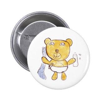 urso do bebê com sua garrafa de leite bóton redondo 5.08cm