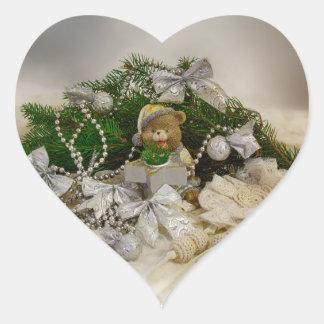 Urso do Natal Adesivo Coração