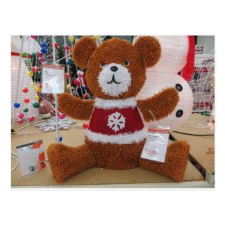 Urso do Natal na camisola do floco de neve Cartões Postais