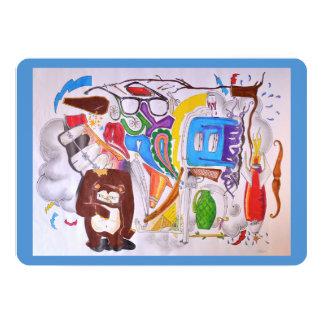 Urso e outro cartão liso convite 12.7 x 17.78cm