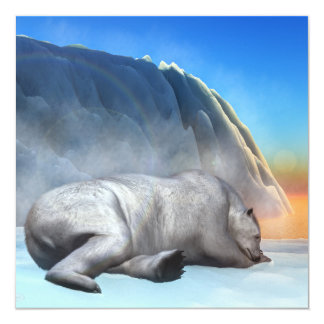 Urso polar - 3D rendem Convite Quadrado 13.35 X 13.35cm
