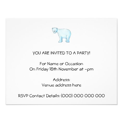Urso polar convite personalizado