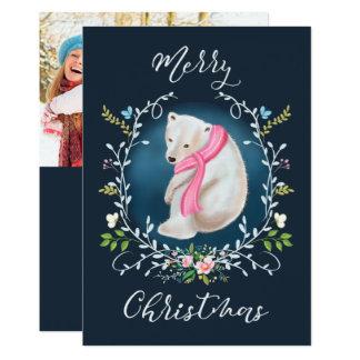 Urso polar e cartão de Natal floral da foto da Convite 12.7 X 17.78cm