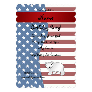Urso polar patriótico conhecido personalizado convites personalizados