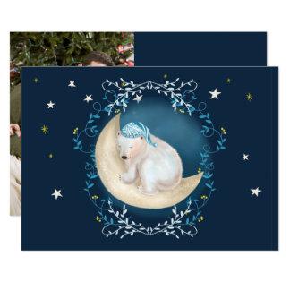 Urso polar que dorme no cartão de Natal da foto da Convite 12.7 X 17.78cm