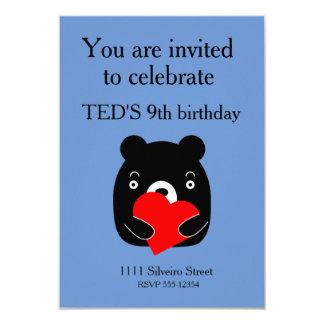 Urso preto que guardara um coração convite 8.89 x 12.7cm